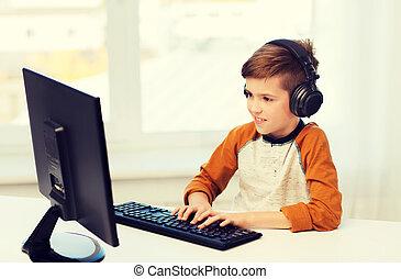 glücklich, junge computer, und, kopfhörer, hause