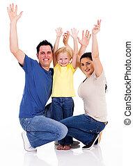 glücklich, junge familie, arme, weiß