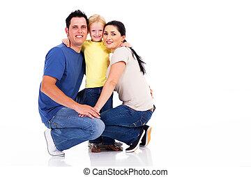 glücklich, junge familie, freigestellt, weiß