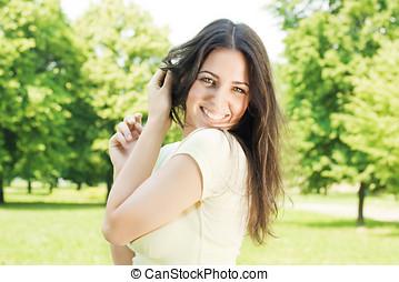 glücklich, junge frau, genießen, auf, schöne , fruehjahr, tag, park