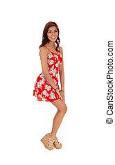 glücklich, junge frau, in, rotes , dress.