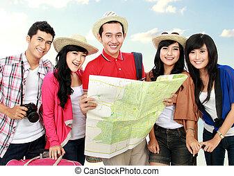 glücklich, junge leute, touristen