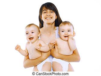 glücklich, junge mamma, mit, zwei, zwillinge, baby
