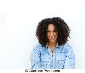 glücklich, junger, afrikanische amerikanische frau, lächeln