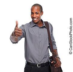 glücklich, junger, man., african-american