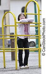 glücklich, junges mädchen, park