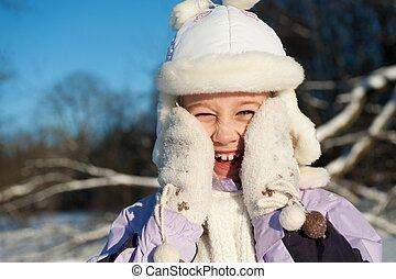 glücklich, junges mädchen, winter, porträt
