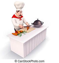 glücklich, küchenchef, kochen, gemuese