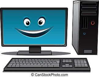 glücklich, karikatur, desktop-computer
