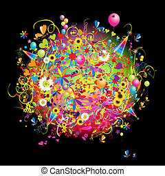 glücklich, karte, ballons, feiertag, lustiges