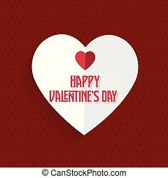 glücklich, karte valentines tages, mit, rotes herz