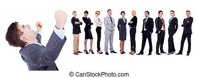 glücklich, kaufleuten zürich, mit, geschäft mannschaft,...