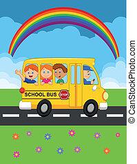glücklich, kind, karikatur, bus, schule