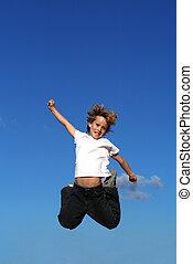 glücklich, kind, oder, springende , kind