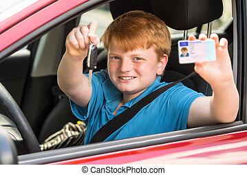 glücklich, kind, sitzen, inneres auto