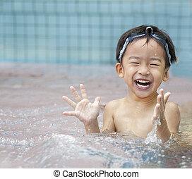 glücklich, kind, wasser