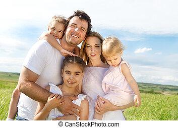 glücklich, kinder, drei, familie, junger