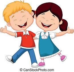 glücklich, kinder, karikatur