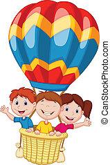 glücklich, kinder, karikatur, reiten, a, heißluft