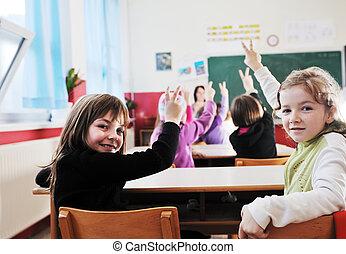 glücklich, kinder, mit, lehrer, in, schule, klassenzimmer