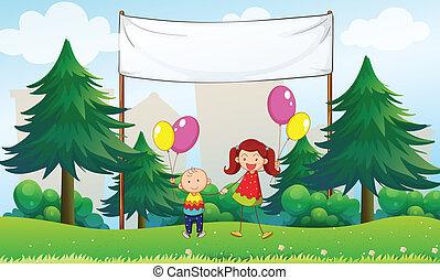 glücklich, kinder, mit, luftballone, unterhalb, ein, leerer , signage