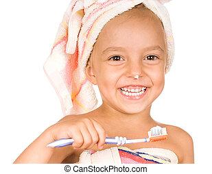 glücklich, kleines mädchen, mit, zahnbürste