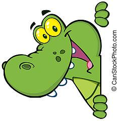 glücklich, krokodil