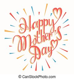 glücklich, lettering., tag, mütter