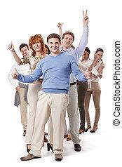 glücklich, leute geschäft, mannschaft, gruppe, zu