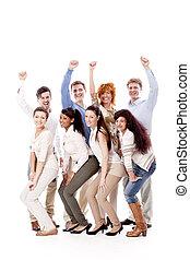 glücklich, leute geschäft, mannschaft, gruppieren zusammen
