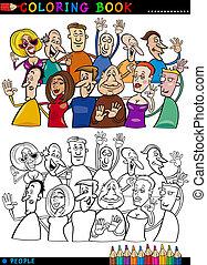 glücklich, leute, gruppe, für, färbung