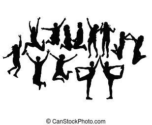 glücklich, leute, springen, silhouetten