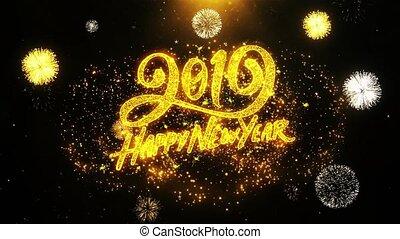 glücklich, looped., karte, einladung, wünsche, 2019, grüße, jahr, neu , firework, feier