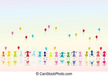 glücklich, luftballone, kinder, gefärbt