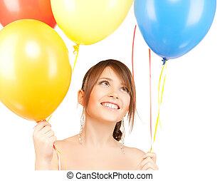 glücklich, m�dchen, mit, farbenprächtige luftballons