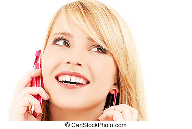 glücklich, m�dchen, mit, rosa, telefon