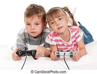 glücklich, m�dchen, und, junge, spielende , a, videospiel