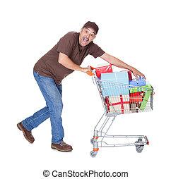glücklich, mann, mit, einkaufswagen
