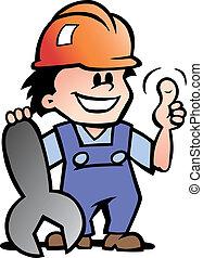 glücklich, mechaniker, oder, heimwerker