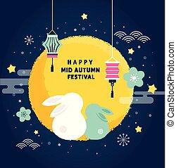 glücklich, mittler, herbst, festival., vektor, banner, hintergrund, und, plakat