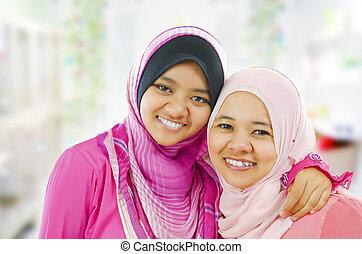 glücklich, moslem, frauen
