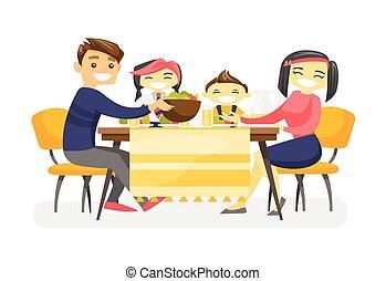 glücklich, multiethnic, familie, ißt, an, der, tisch.