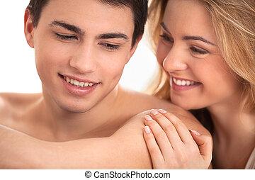 glücklich, nahaufnahme, liebenden, ehepaar.