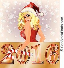 glücklich, neu , sexy, jahr, santagirl, 2016
