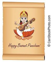 glücklich, panchami, banner, basant