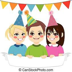 glücklich, party, kinder