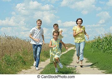 glücklich, rennender , familie, draußen