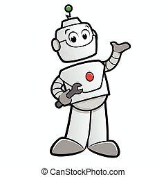 glücklich, roboter, karikatur
