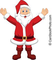 glücklich, santa, winkende , karikatur, hand
