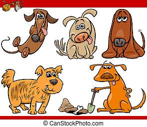 glücklich, satz, karikatur, abbildung, hunden